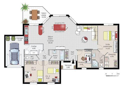 Plan habillé Rez-de-chaussée - maison - Maison de plainpied 1