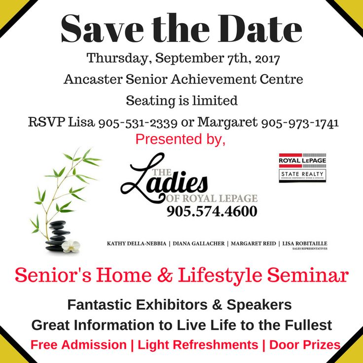 Are you planning for your future or for your aging parents.  Come to this fabulous event and get great information. #HamOnt #Seniors #Ancaster