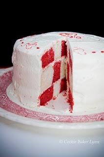 Valentine's Checkerboard Cake