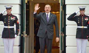 The president of Azerbaijan, Ilham Aliyev, at the White House, Washington, DC, last year