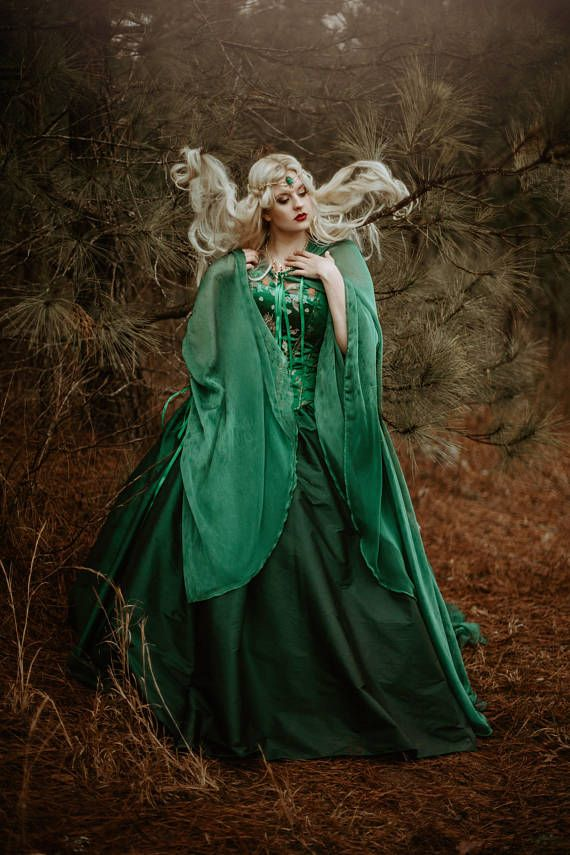 Emerald Green Medieval Dragon Brocade Gothic Corset Gown with | Types of  fashion styles, Fantasy gowns, Butterfly sleeve dress