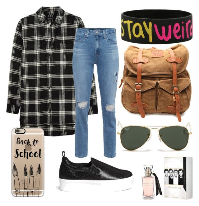 """""""Campus style ☺️"""" by primsus on Polyvore featuring Madewell, AG Adriano Goldschmied, VIPARO, Casetify, Ray-Ban and Pedder Red"""