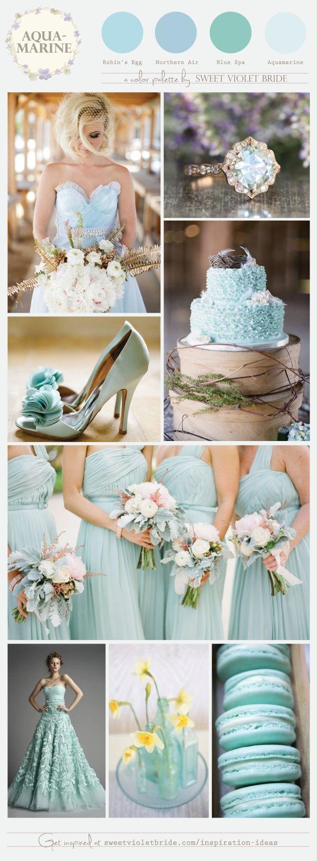 Aguamarina, como Color de paleta para boda. #BodasDeAzul