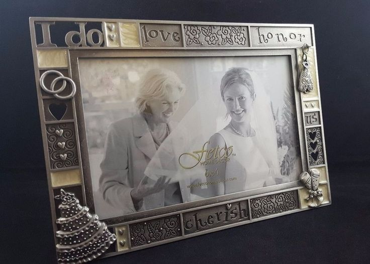 Wedding Picture Frame I Do Love Honor Cherish 4x6 Fetco Pewter Frame NEW #Fetco #Wedding
