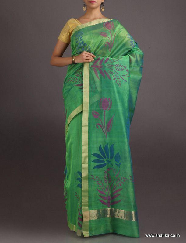 Alisha The Charm Of Lotus #ChanderiBlockPrintedSaree