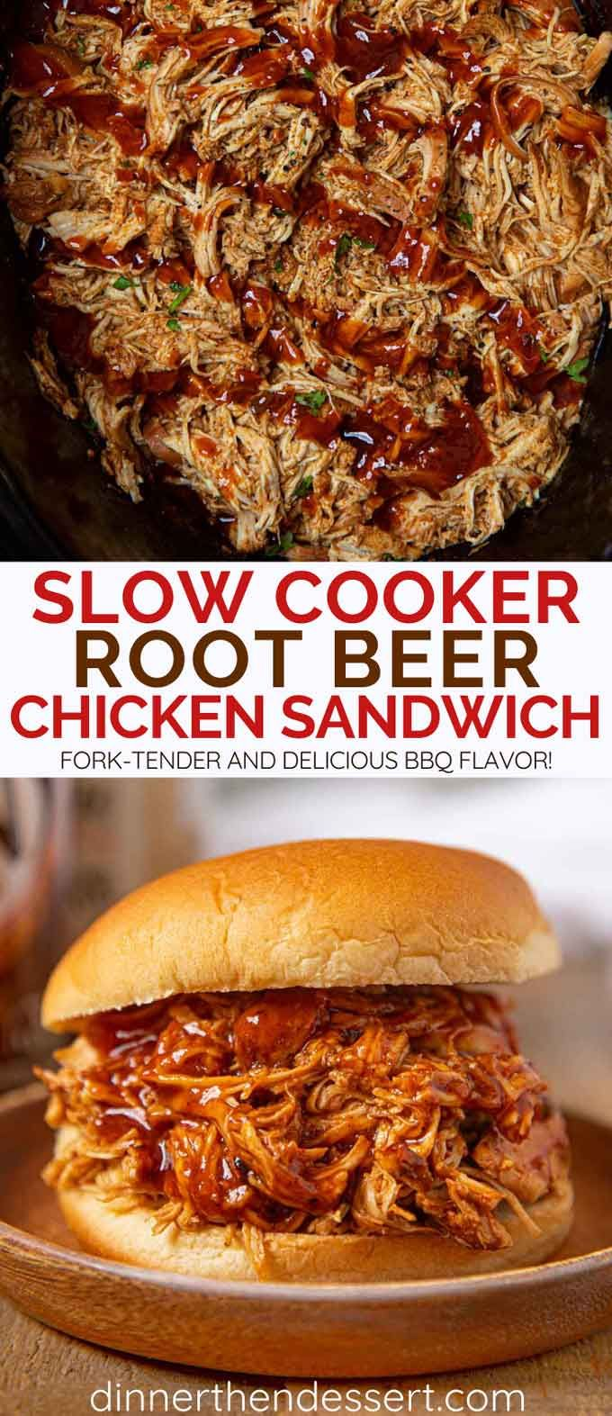 Slow Cooker Root Beer BBQ Chicken is an easy weeknight meal or party food made w…