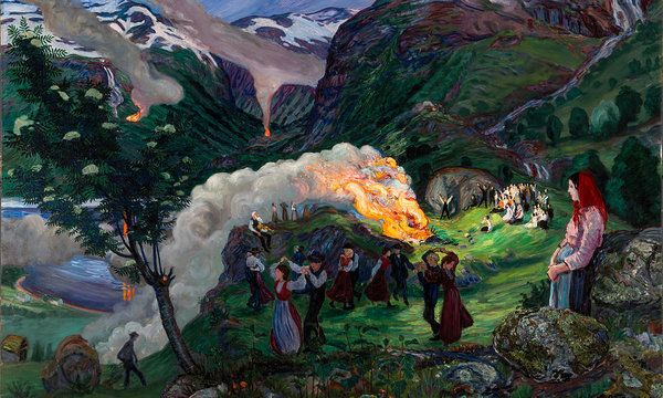 Nikolai Astrup Art Print featuring the painting Midsummer Eve Bonfire by Nikolai Astrup