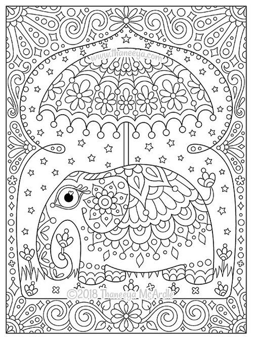 Think Happy Coloring Book By Thaneeya Mcardle Thaneeya Com Love Coloring Pages Coloring Books Umbrella Coloring Page