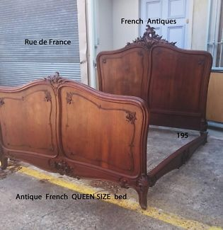RARE ANTIQUE FRENCH CARVED WALNUT QUEEN SIZE CARVED BED