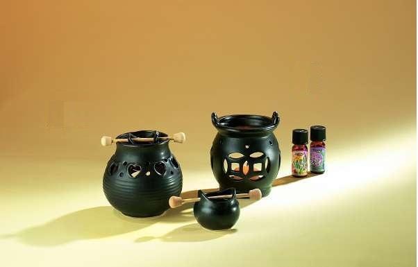 Brûle-parfum rond noir