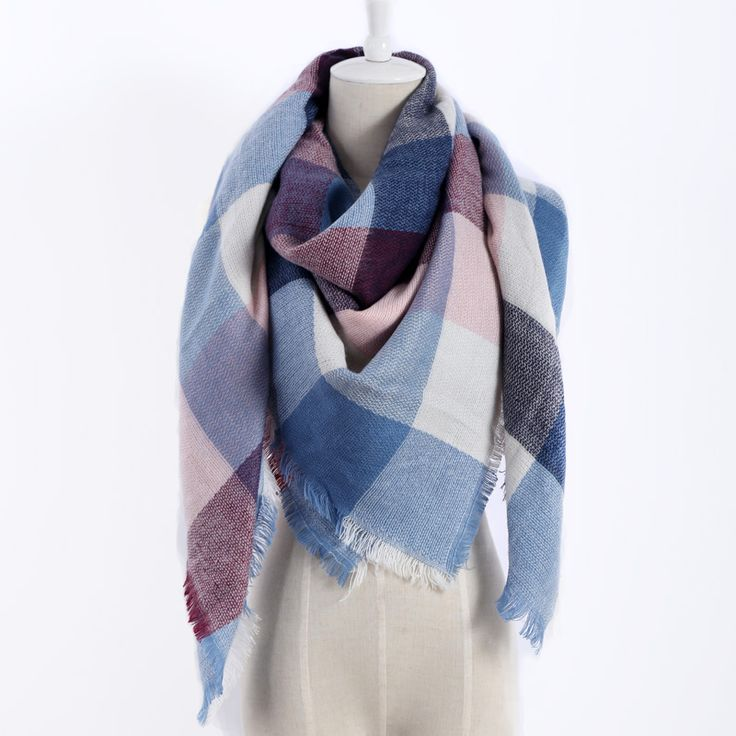 New color plaid Scarves Winter Fashion Woman's Oversized Cashmere Shawl Wrapped in Warm Blankets Square Scarf For women