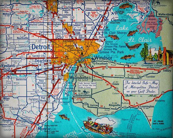 Detroit Michigan Windsor Ontario Canada retro map print ...