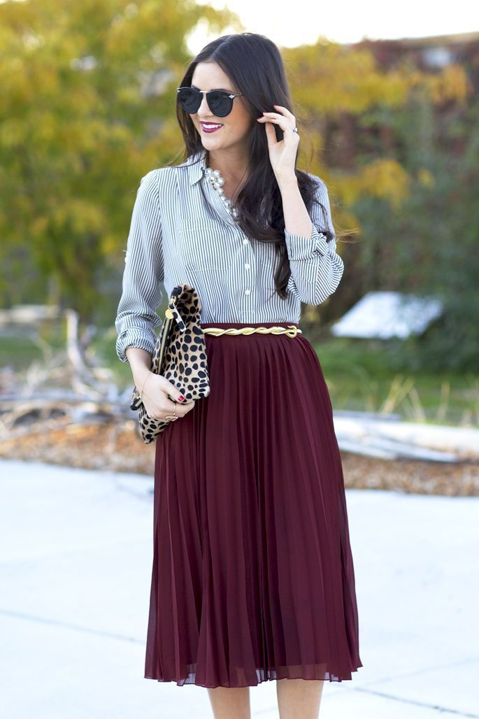 """Best Engagement Outfit Ideas For Women in 2017  - """"When you love someone, you don't allow yourself to see perfection in anyone else"""". That's not one of relationships' clichés, because a good ... -  gold-belt-maroon-pleated-midi-skirt ."""