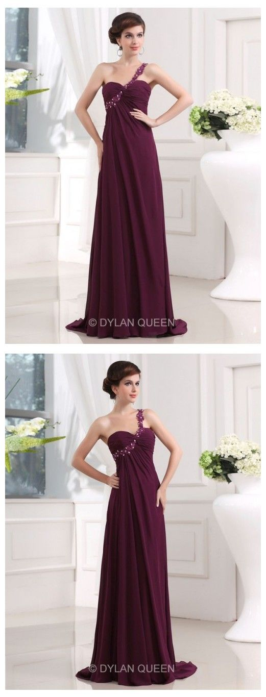 Fashionable A-line Beading One-shoulder Sweetheart Sleeveless Chiffon Evening Dress with Applique