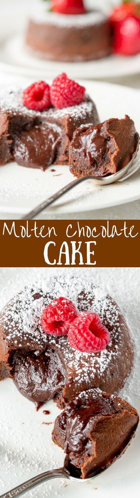 Molten Chocolate Cake -famous for it's tender, moist cake, a light crispy crust, and gooey rich chocolate middle. www.savingdessert...