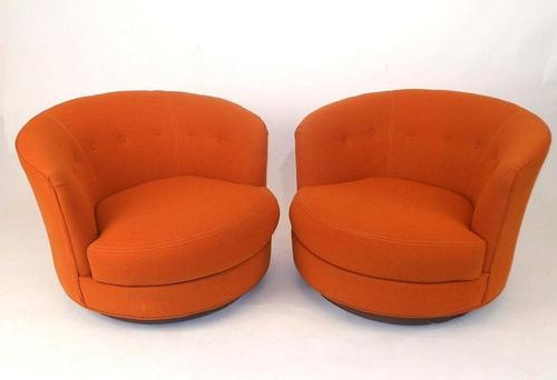 Pair Orange Swivel Barrel Chairs Mid Century Modern