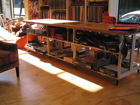 under-bench retail shelving with access from both sides, easily moved on casters - Living Room, Wellington