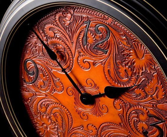 Carved Leather Art | Made Carved Leather Wall Clock by Clair Kehrberg Fine Leather Art ...