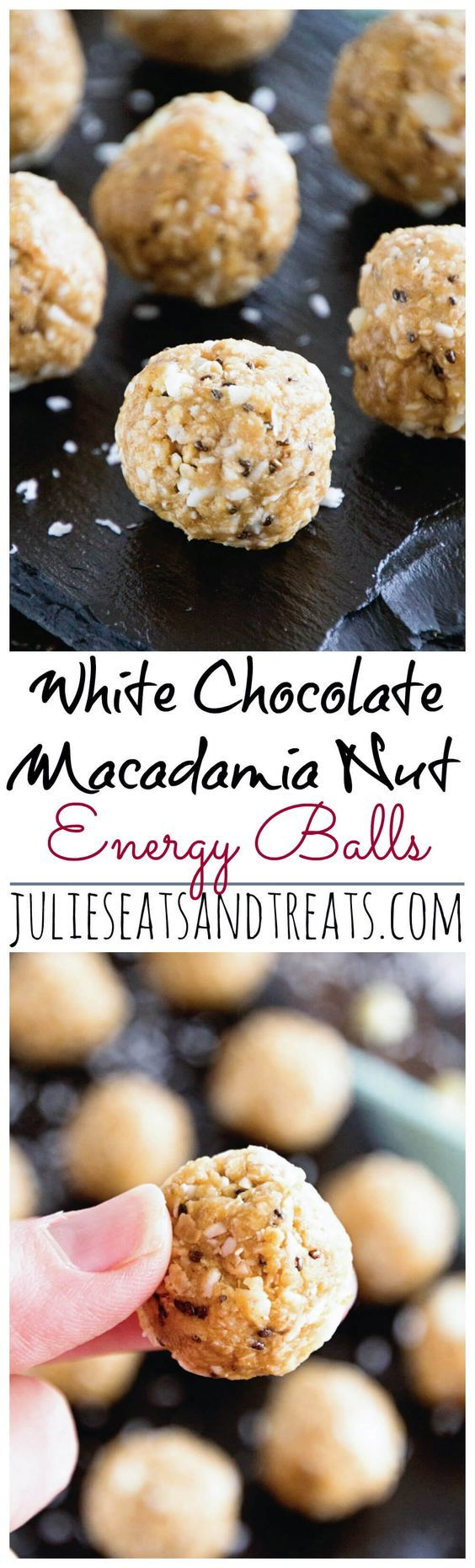 White Chocolate Macadamia Nut Energy Balls ~ Delicious Recipe for Energy Bites Loaded with White Chocolate Chips, Macadamia Nuts, Coconut, Oats, Flaxseed and Chia Seeds! ~ http://www.julieseatsandtreats.com