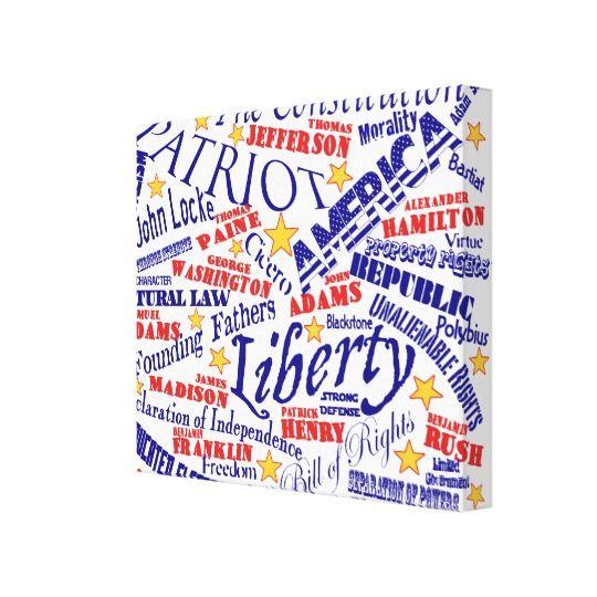 Patriotic Word Art Canvas Print