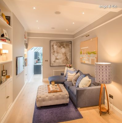 Fantastic layout for a long and narrow living room (less than 9 ft wide from wall behind tv to wall behind the couch)!