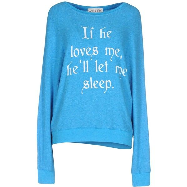 Wildfox Jumper (€73) ❤ liked on Polyvore featuring tops, sweaters, azure, wildfox jumper, wildfox sweater, long sleeve tops, blue jumper and jumpers sweaters