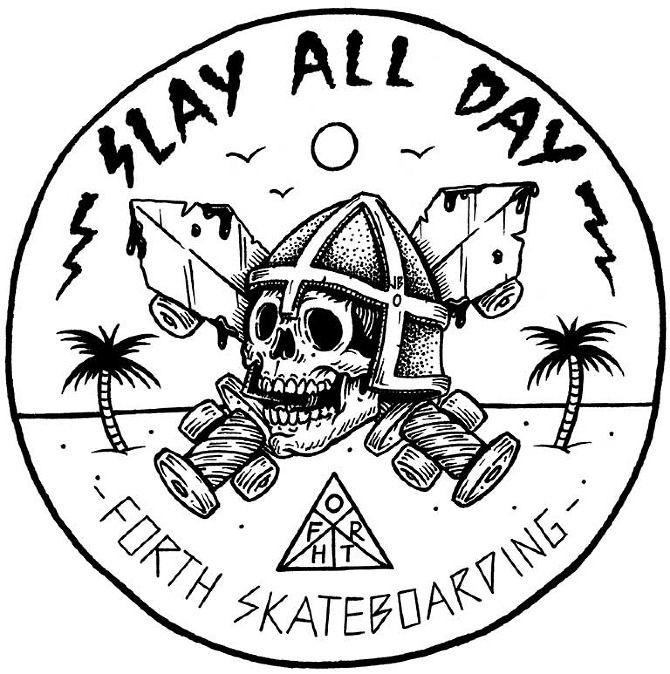 jamie browne art   Forth Skateboarding Tee