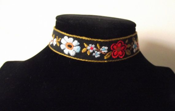 Floral Ribbon Choker by MaryLooGifts on Etsy