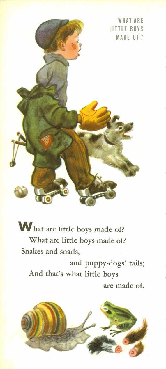 What Are Little Boys Made Of Vintage Children S Print