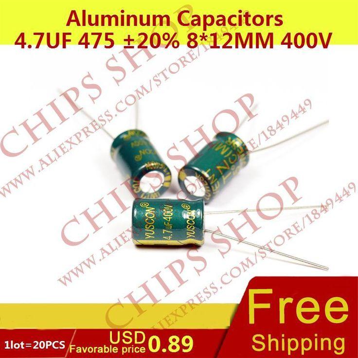 1 LOT = 20 PCS Aluminium Kapasitor 4.7 475 20% 8*12mm 400 V 4700nF uF 4700000pF Diameter8mm
