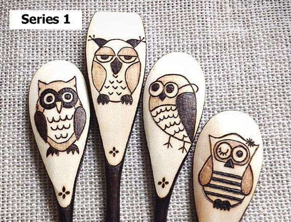 Custom Wood Burned Owl Spoons Whimsical Owls wooden by SueMadeThat