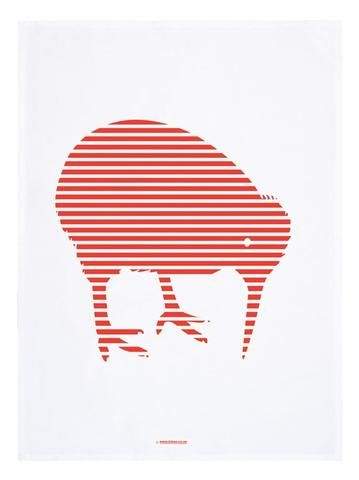 Red Kiwi Striped Tea Towel