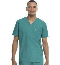 16600AB Code Happy Men's Scrub Top with Certainty Plus Teal Model Big