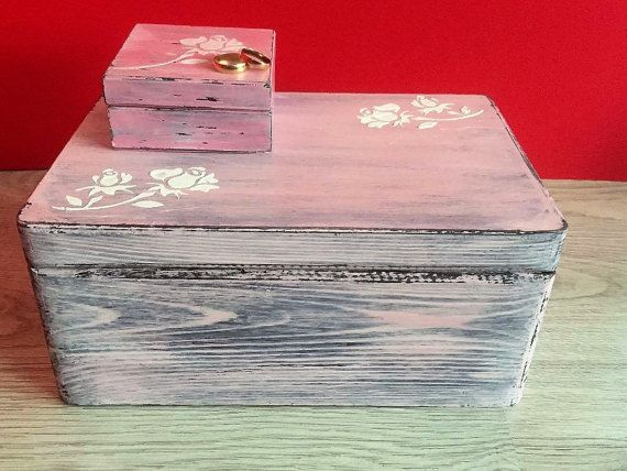 Pink Rustic wedding set boxes Wedding ring by VictoriaWeddingArt