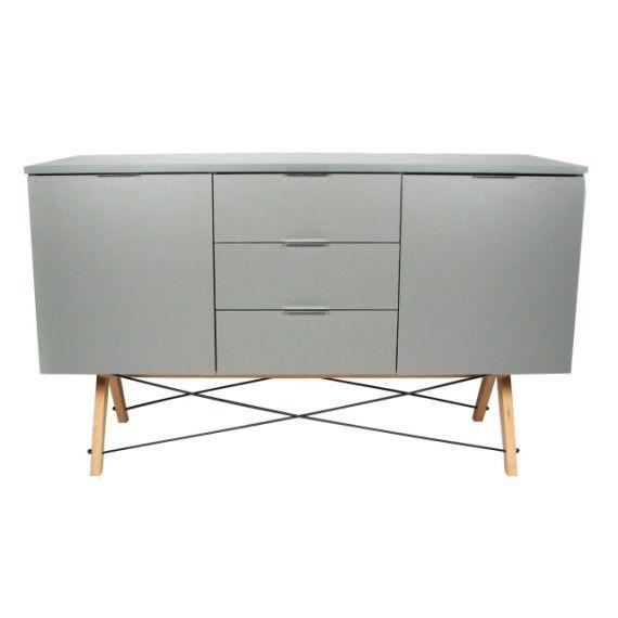 Bufet potrójny Jasnoszary (Light Grey) 150x50x80 cm