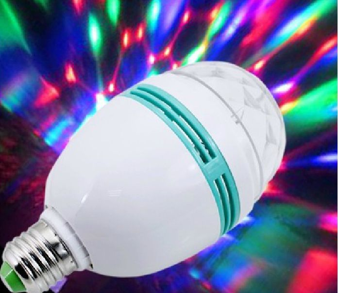 1pc E27 3W RGB LED Crystal Stage Light Auto Rotating Lamp Laser Disco DJ Party Holiday Dance bulb
