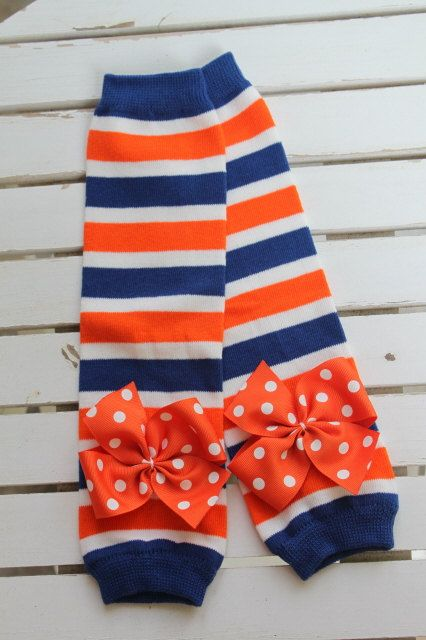 Florida Gator Leg Warmers -- orange and royal striped Leg Warmers -- bow leg warmers for baby girls. $13.95, via Etsy.