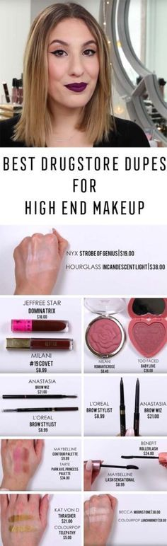 Best Drugstore Makeup Dupes- The BEST Drugstore DUPES For High End Makeup Hourglass, Becca Too Faced More JamiePaigeBeauty - Simple DIY Tutorials That Cover The Best Drugstore Dupes And Products For Foundation, Contouring, Lipsticks, Eye Concealer, Products For Oily Skin, Dupe Brushes, and Primers From 2016 And Places Like Target. These Are Cheap And Affordable - https://thegoddess.com/best-drugstore-makeup-dupes