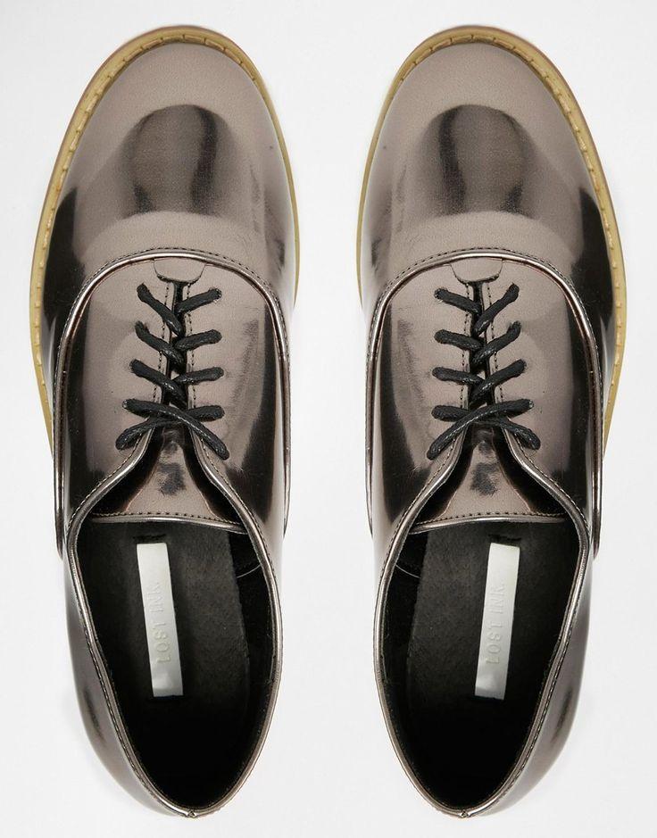 Image 3 - Lost Ink - Chaussures plates à lacets - Étain