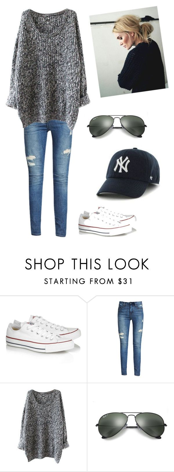 """""""Saturday football game """" by vegasblondie ❤ liked on Polyvore featuring Converse and Ray-Ban"""