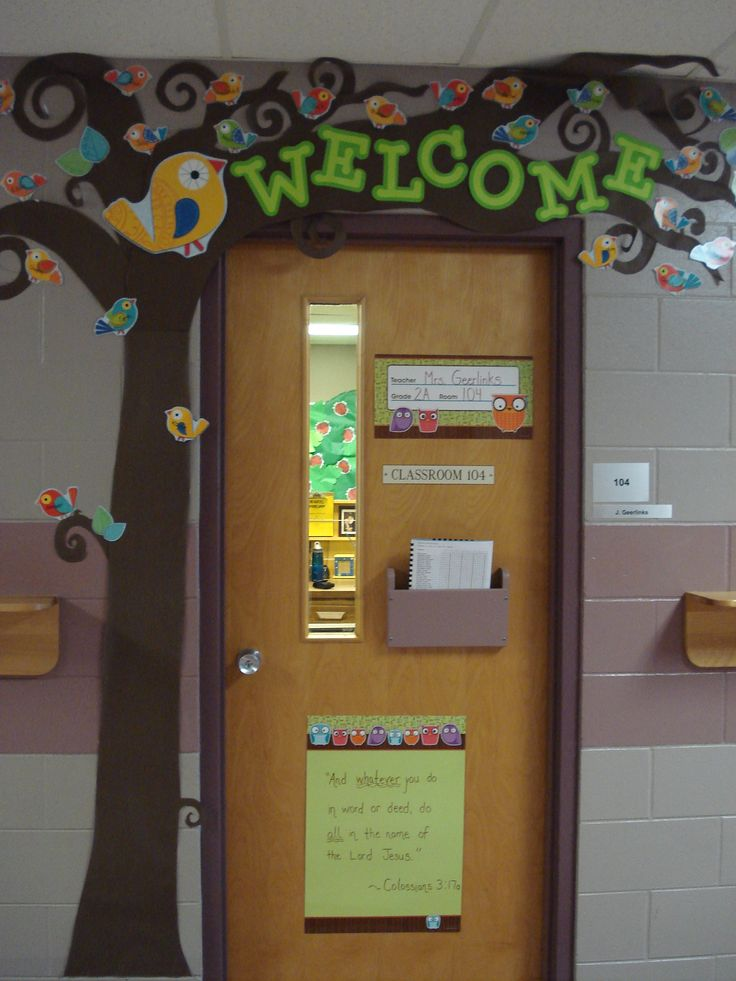 Welcome tree for door with students' names on boho birds
