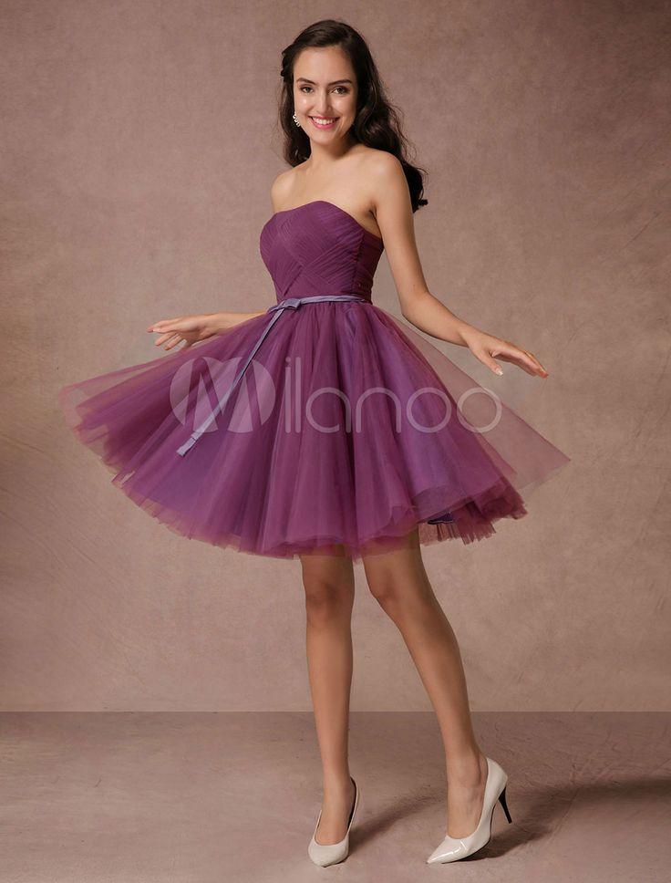 Short de Dama de honor vestido de ciruela tul Homecoming vestido corto de baile vestido sin espalda tejido vestido de cóctel con faja