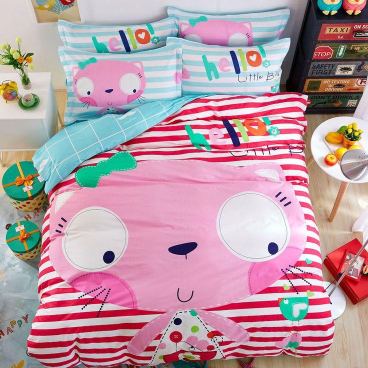 big face pink cat red white stripes sheets sets coverlets cotton linens twin/queen size duvet cover set 3/4pcs bedding sets