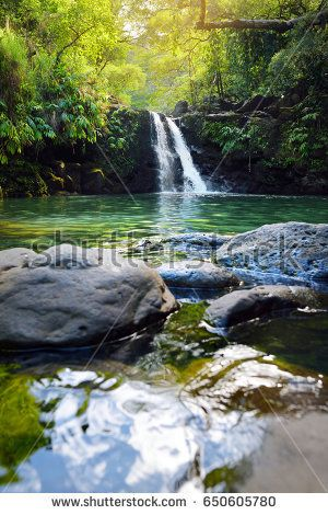 Tropical waterfall Lower Waikamoi Falls and a small crystal clear pond, inside of a dense tropical rainforest, off the Road to Hana Highway, Maui, Hawaii, USA