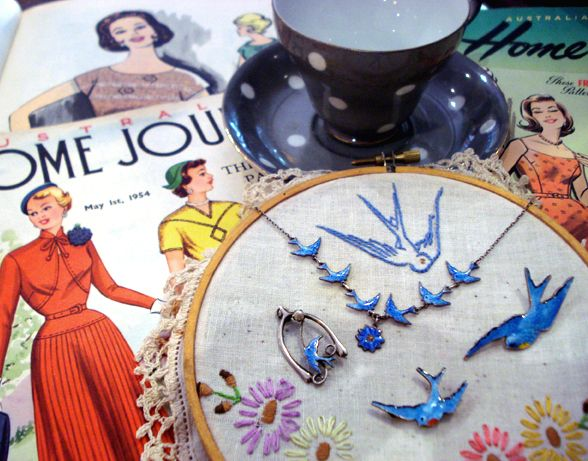 Bluebird Vintage embroidery