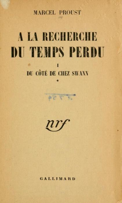 Marcel Proust: PortadaÀ la recherche du temps perdu (Gallimard, 1919)  yama-bato    À la recherche du temps perdu (1919)  Author: Proust, Marcel, 1871-1922Volume: 1Publisher: [Paris] GallimardLanguage: French  http://www.archive.org/details/larecherchedut01prou