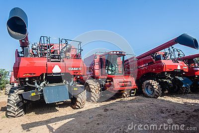 Close-up photo image of new agriculture machines for wheat maize farming crop harvester machines.