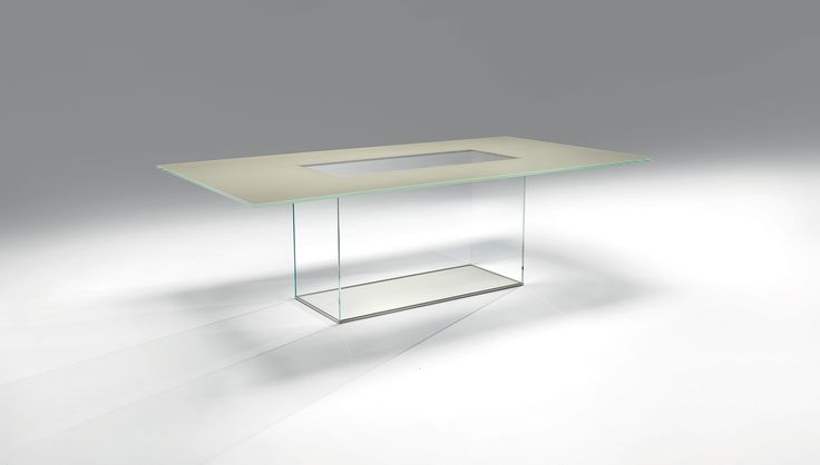 Casali :: Icaro Rettangolo Table with rectangular top made of 15 mm extra-clear tempered glass with lacquered back and base consisting of four 10 mm extra-clear glass panels assembled with lacquered metal crowns and finished with a 10 mm extra-clear glass floor-level sheet with lacquered back. Opaque lacquers.   Available colors White, Black, New Colors    Weight 193 kg
