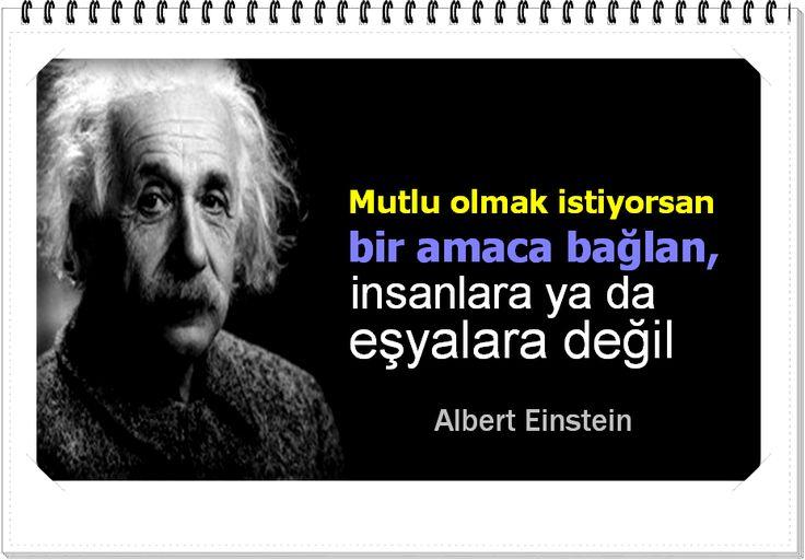 Mutlu olmak istiyorsan bir amaca bağlan, insanlara ya da eşyalara değil.  -Albert Einstein