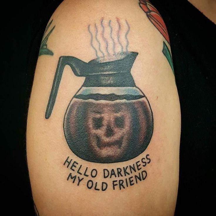 Coffee tattoo by @dustinbarnhart at Berlin Tattoo in Ontario Canada…